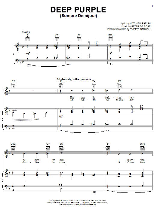 Partition piano Deep Purple de Nino Tempo & April Stevens - Piano Voix Guitare (Mélodie Main Droite)