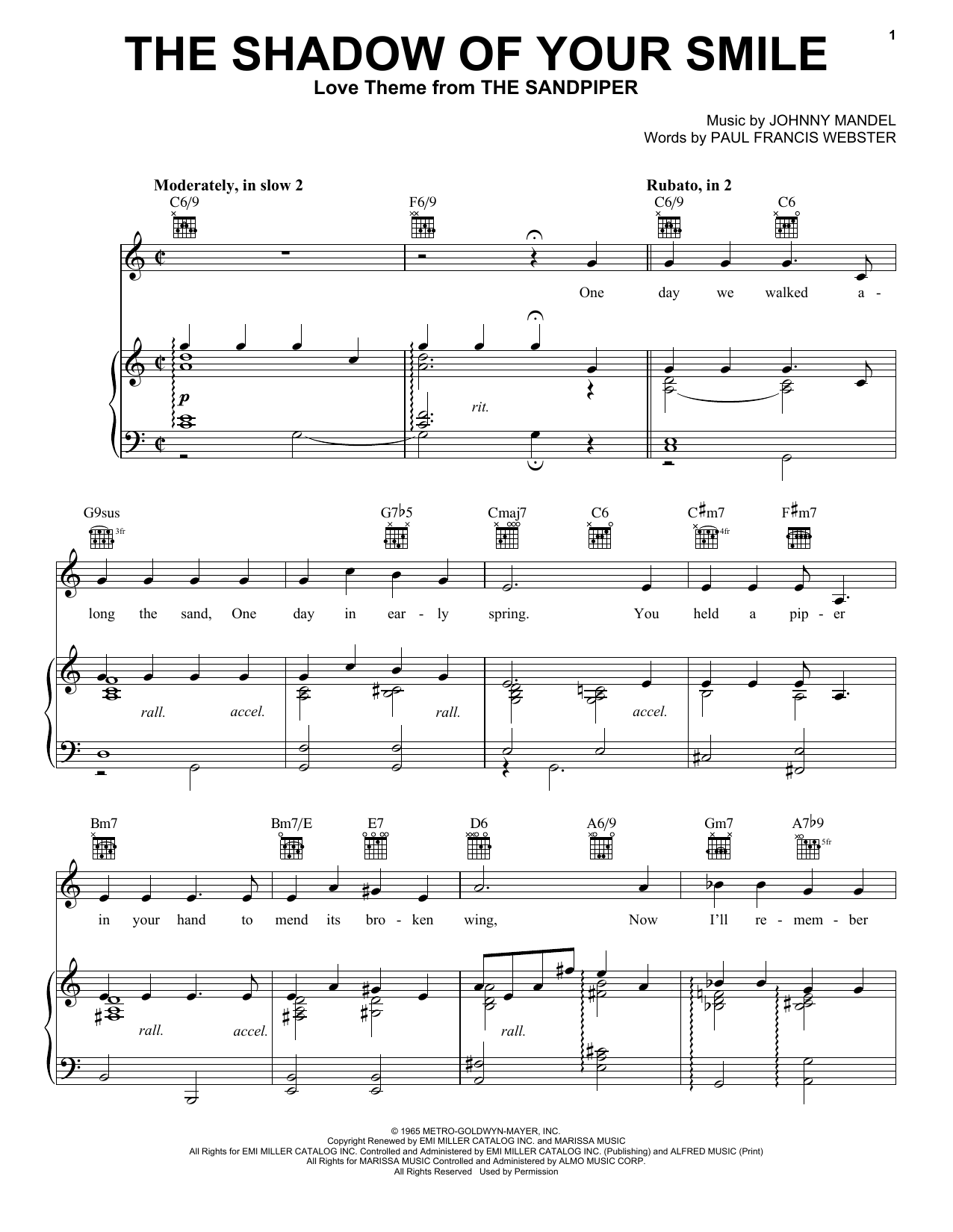 The Shadow Of Your Smile Sheet Music