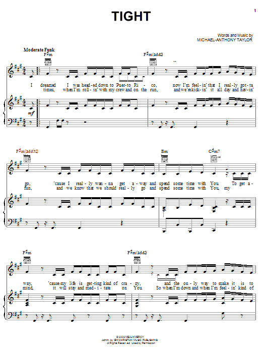 Tight (Piano, Vocal & Guitar (Right-Hand Melody))