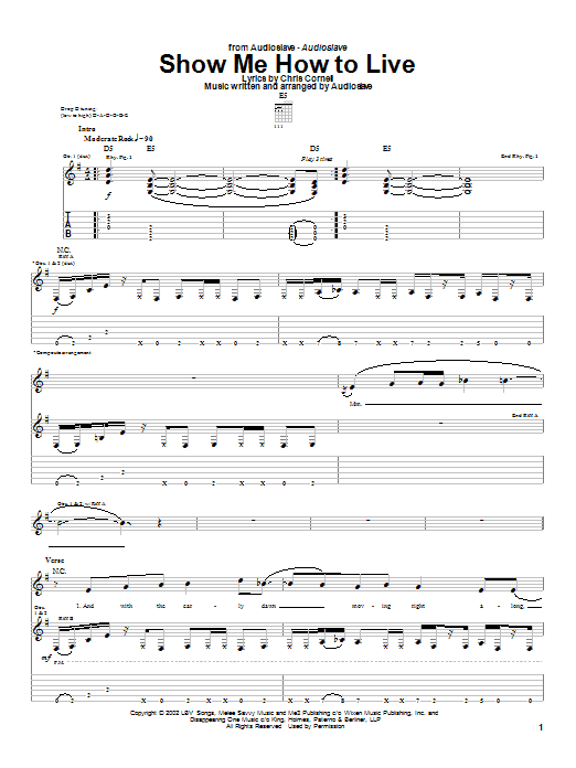 Tablature guitare Show Me How To Live de Audioslave - Tablature Guitare