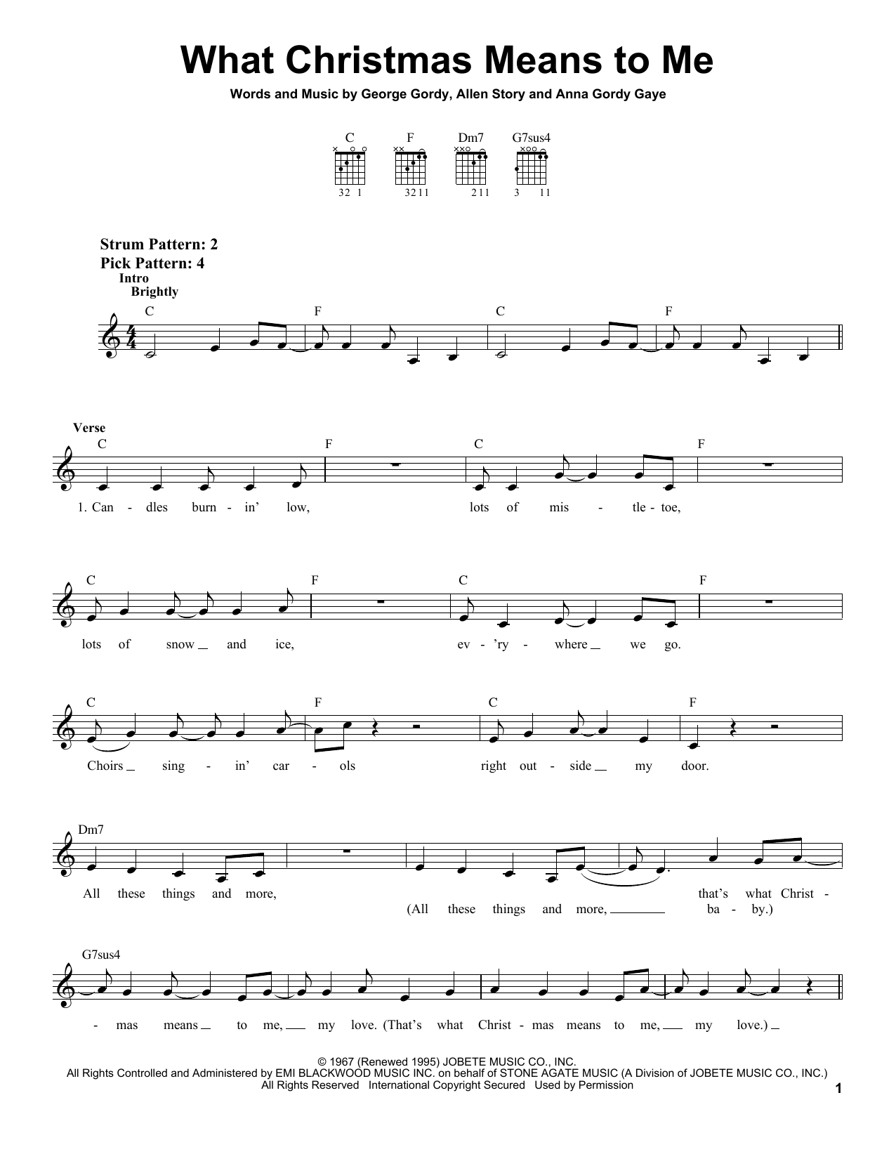 Tablature guitare What Christmas Means To Me de Stevie Wonder - Tablature guitare facile