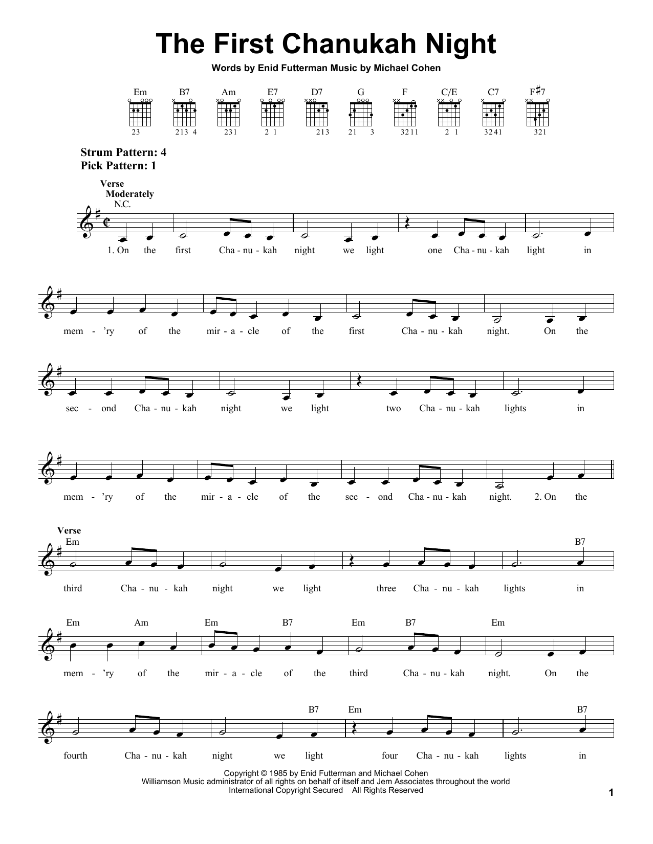 The First Chanukah Night Sheet Music