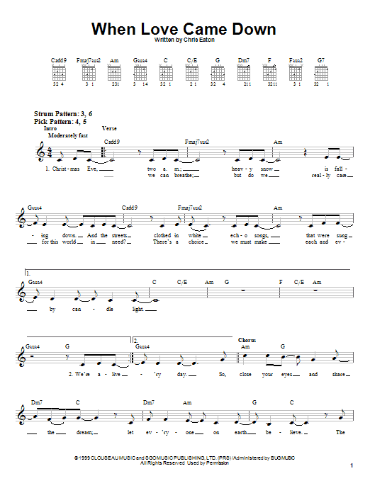 When Love Came Down Sheet Music