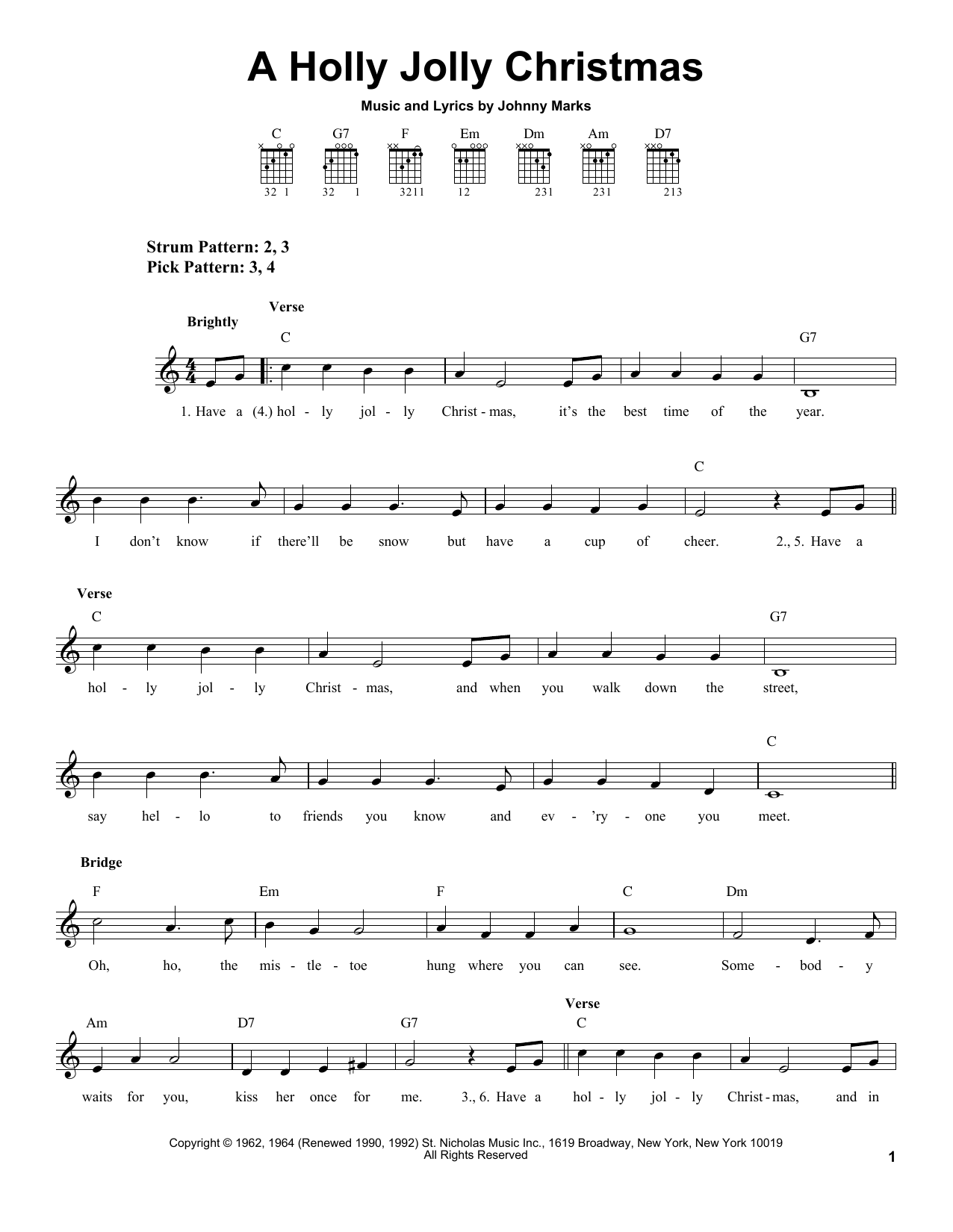 A Holly Jolly Christmas - Print Sheet Music Now