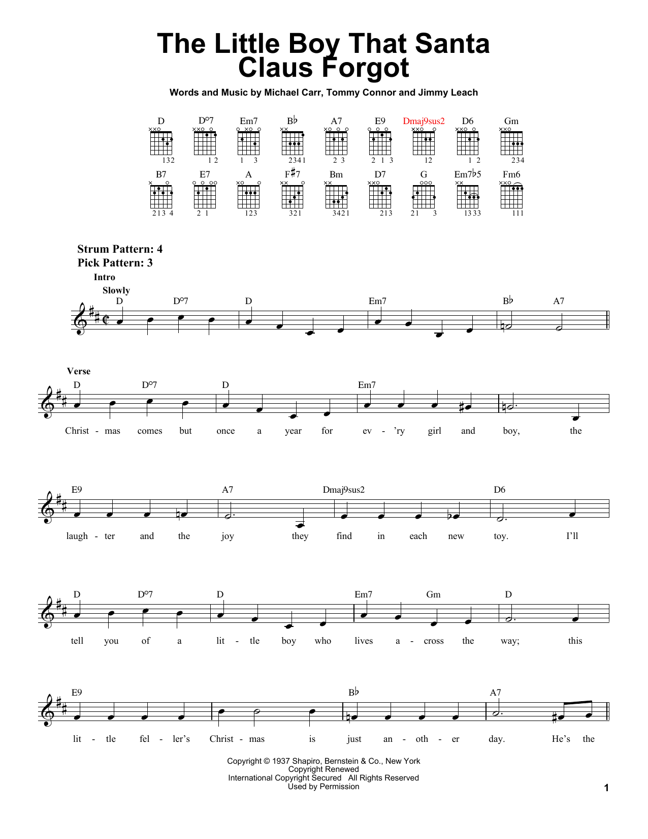 Partition autre The Little Boy That Santa Claus Forgot de Michael Carr - Tablature guitare facile