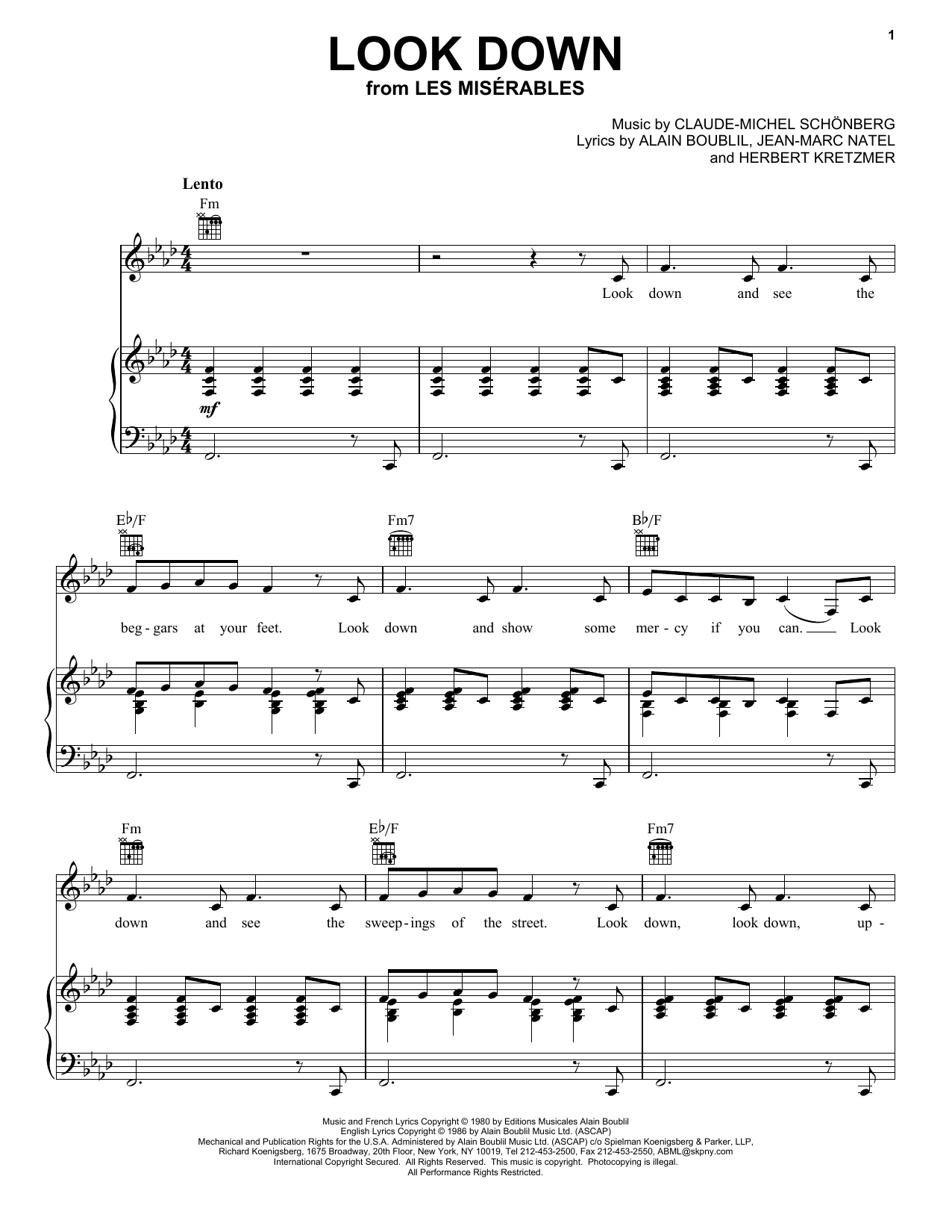 Look Down (Piano, Vocal & Guitar (Right-Hand Melody))