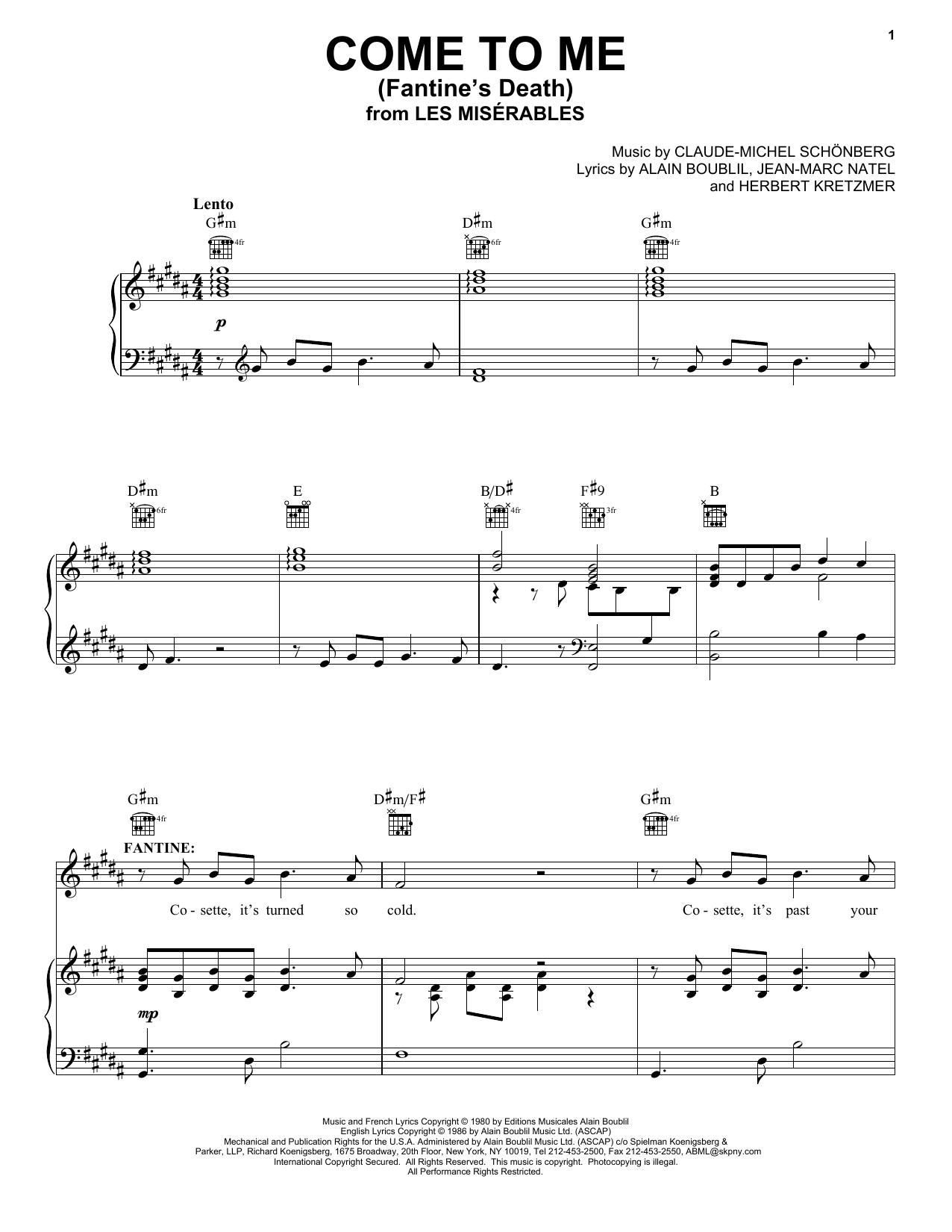 Partition piano Come To Me (Fantine's Death) (from Les Miserables) de Claude-Michel Schonberg - Piano Voix Guitare (Mélodie Main Droite)
