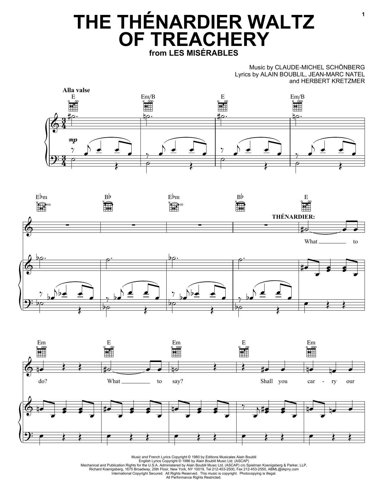 The Thénardier Waltz Of Treachery (from Les Miserables) (Piano, Vocal & Guitar (Right-Hand Melody))