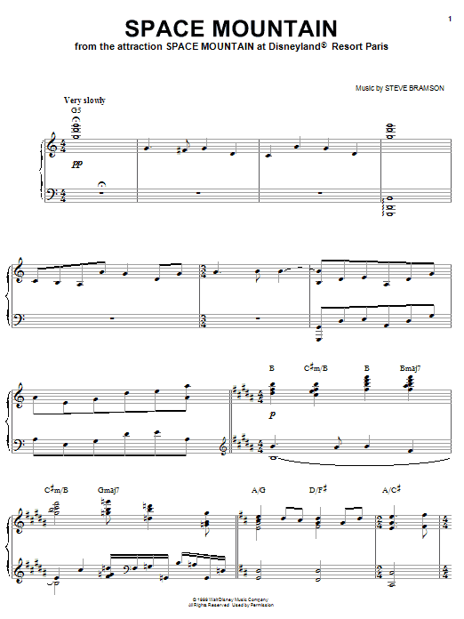 Partition piano Space Mountain (from Space Mountain at Disneyland Paris) de Steve Bramson - Piano Solo
