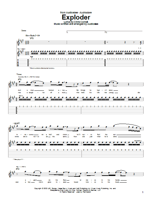 Tablature guitare Exploder de Audioslave - Tablature Guitare