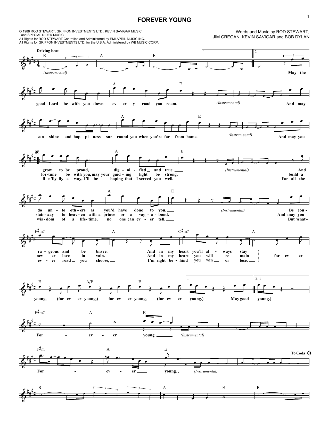 Forever Young (Lead Sheet / Fake Book)