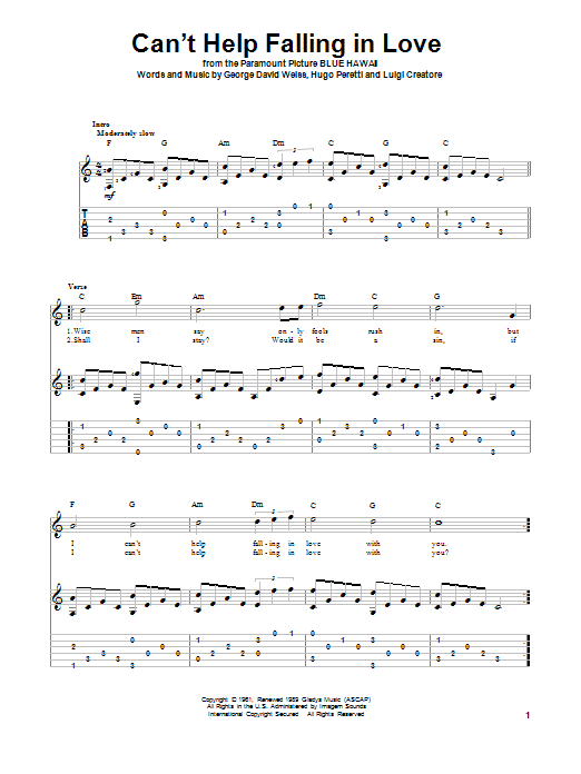 Tablature guitare Can't Help Falling In Love de Elvis Presley - Tablature Guitare