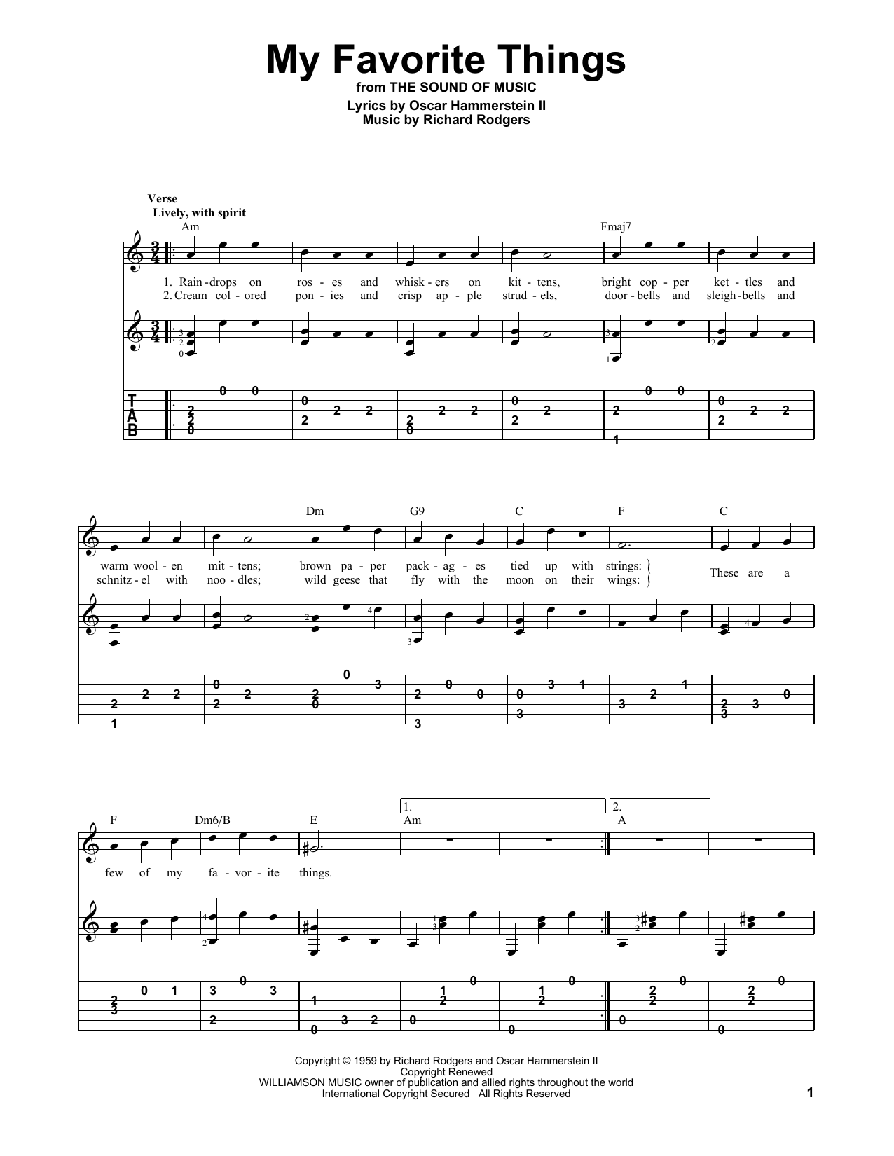 Tablature guitare My Favorite Things (from The Sound Of Music) de Rodgers & Hammerstein - Autre
