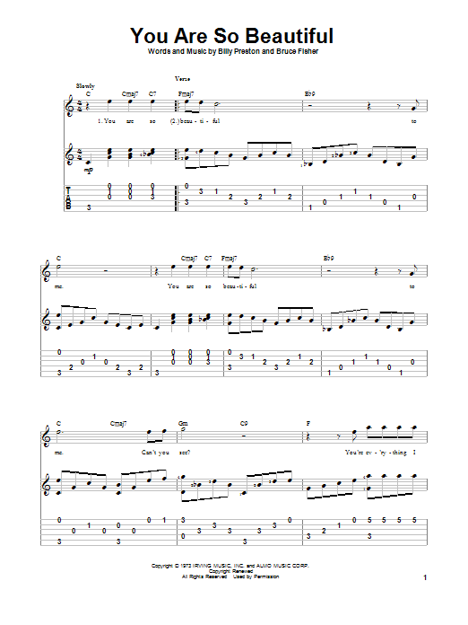 You Are So Beautiful (Guitar Tab)