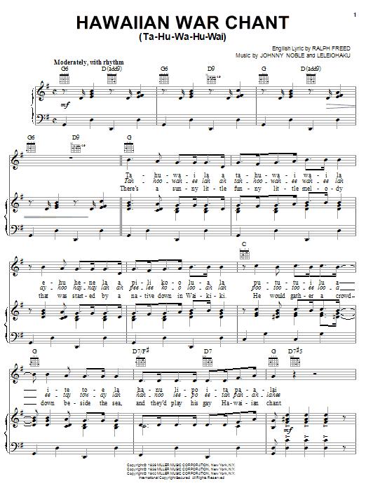 Hawaiian War Chant Sheet Music