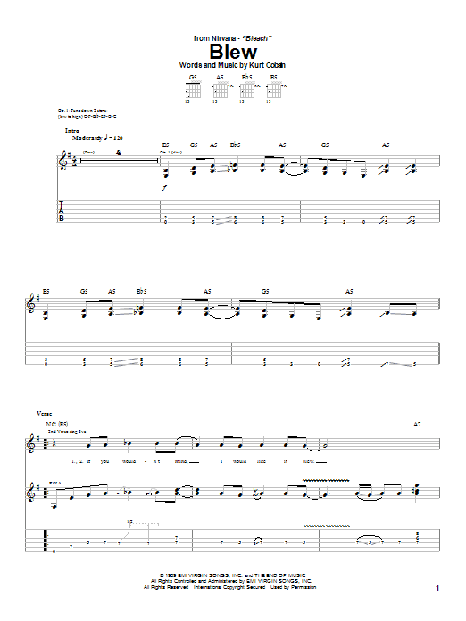 Tablature guitare Blew de Nirvana - Tablature Guitare