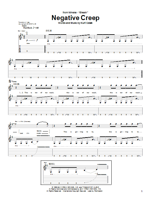 Tablature guitare Negative Creep de Nirvana - Tablature Guitare