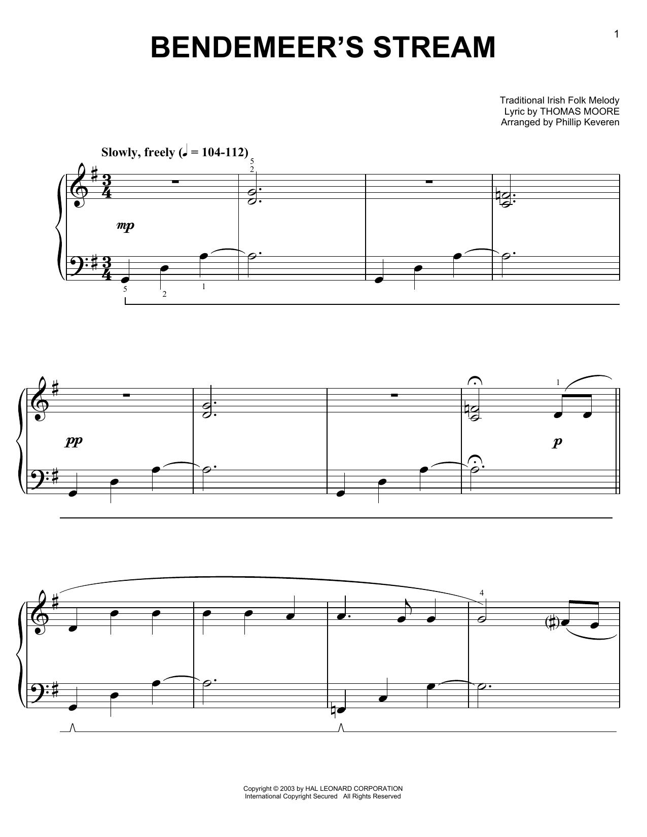 Partition piano Bendemeer's Stream de Thomas Moore - Piano Facile