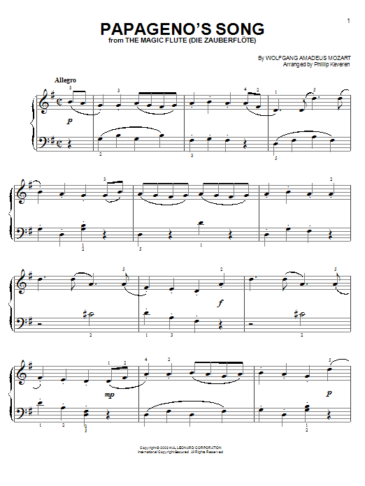 Wolfgang Amadeus Mozart - Papageno's Song sheet music