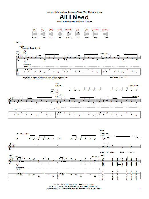Tablature guitare All I Need de Matchbox Twenty - Tablature Guitare