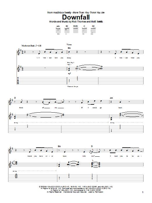 Tablature guitare Downfall de Matchbox Twenty - Tablature Guitare