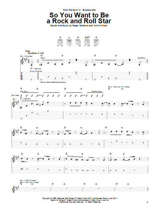 Tablature guitare So You Want To Be A Rock And Roll Star de The Byrds - Tablature Guitare