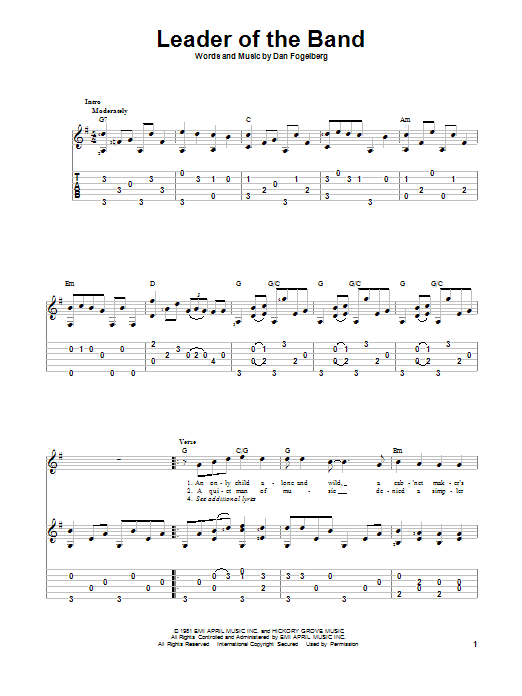 Tablature guitare Leader Of The Band de Dan Fogelberg - Tablature Guitare