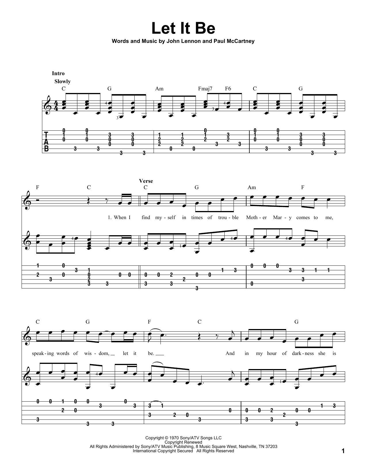 Let It Be (Guitar Tab)