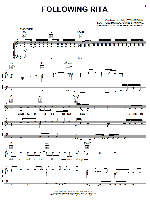 Following Rita (Piano, Vocal & Guitar (Right-Hand Melody))