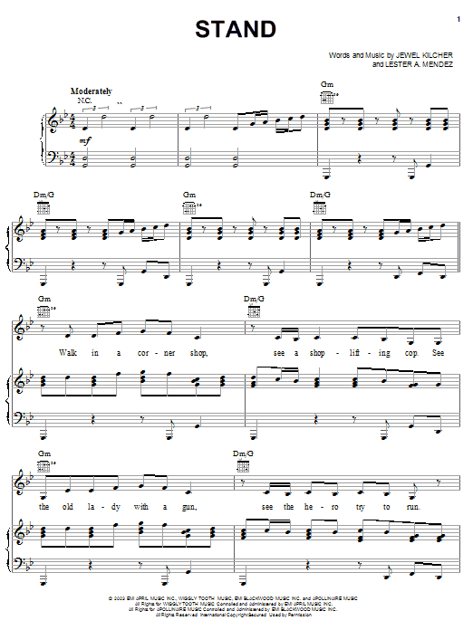 Partition piano Stand de Jewel - Piano Voix Guitare (Mélodie Main Droite)