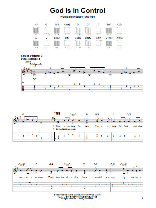 God Is In Control (Easy Guitar)