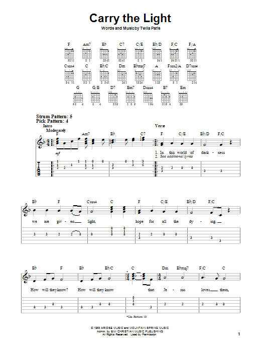 Carry The Light (Easy Guitar)