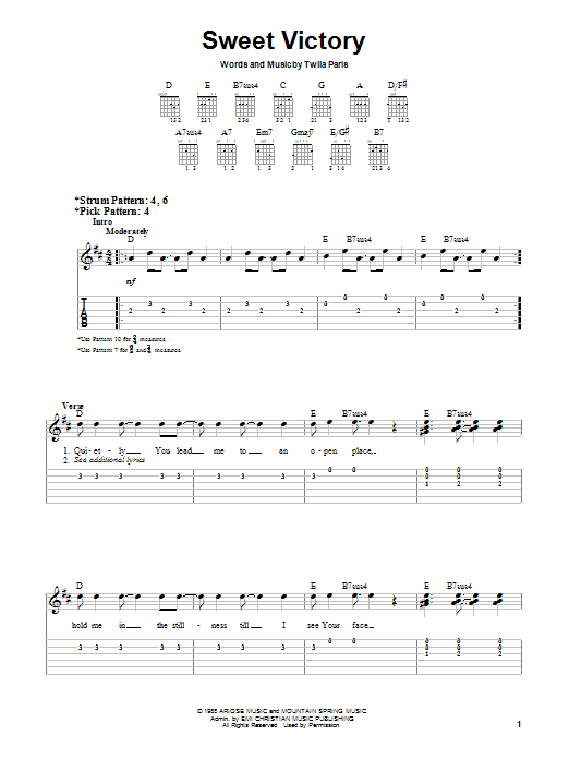 Sweet Victory (Easy Guitar)