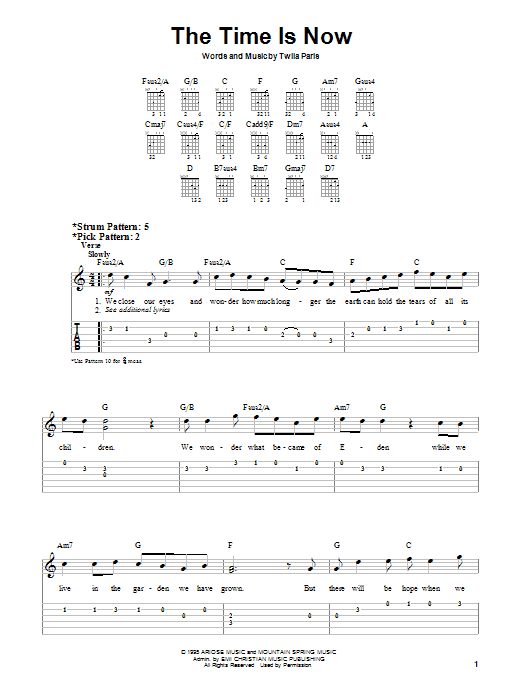 The Time Is Now (Easy Guitar)