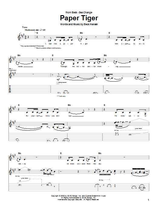 Paper Tiger Sheet Music