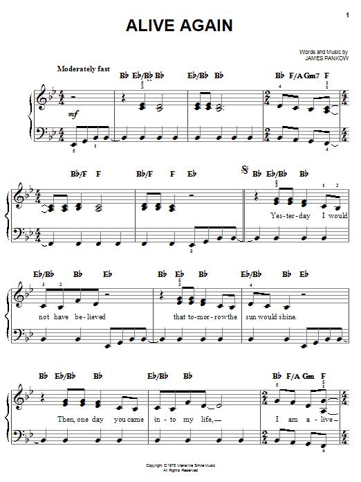 Partition piano Alive Again de Chicago - Piano Facile