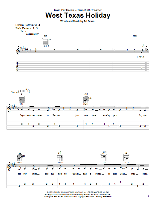 Tablature guitare West Texas Holiday de Pat Green - Tablature guitare facile