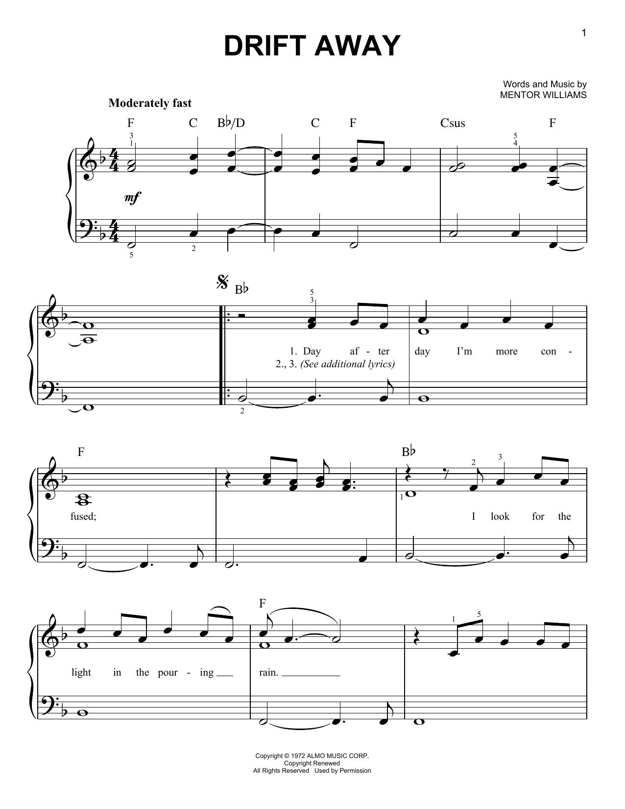 Partition piano Drift Away de Uncle Kracker featuring Dobie Gray - Piano Facile