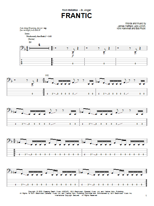 Tablature guitare Frantic de Metallica - Tablature Basse