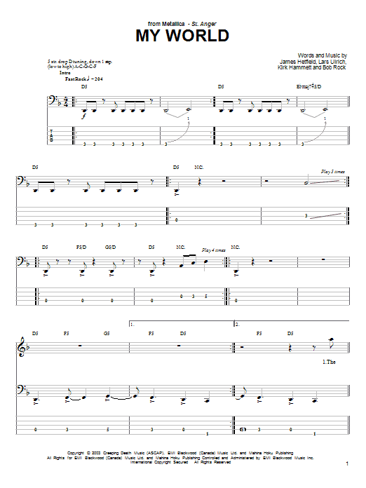 Tablature guitare My World de Metallica - Tablature Basse