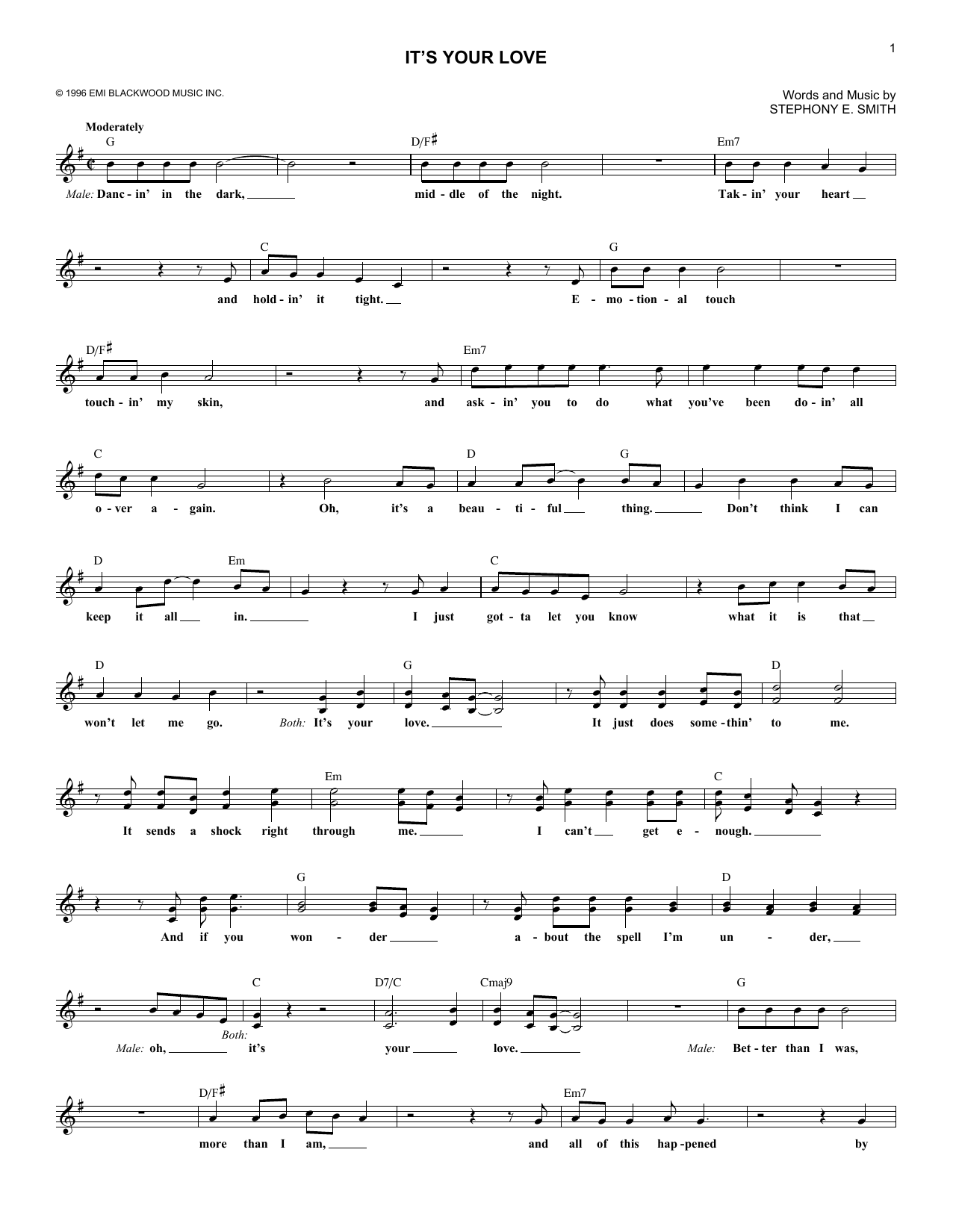 It's Your Love (Lead Sheet / Fake Book)