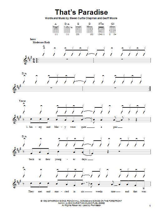 That's Paradise (Easy Guitar)