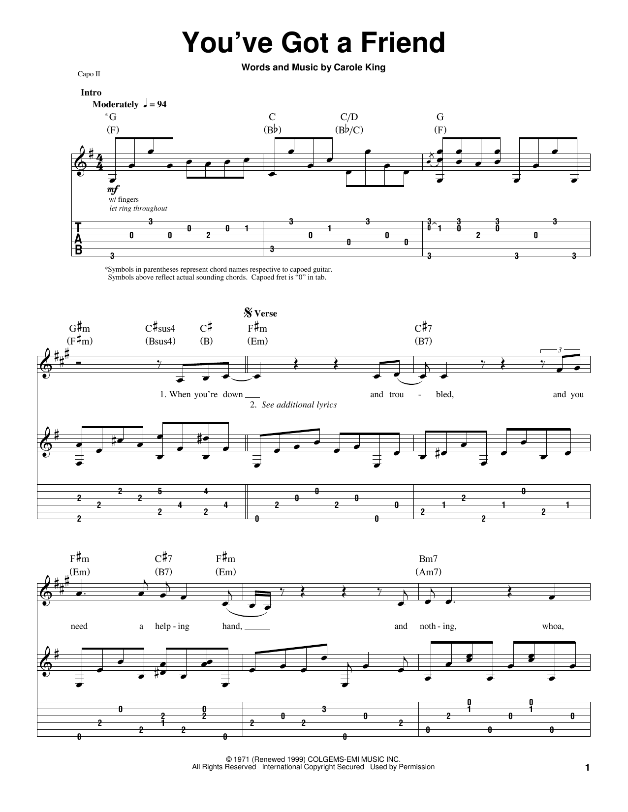 You've Got A Friend Sheet Music
