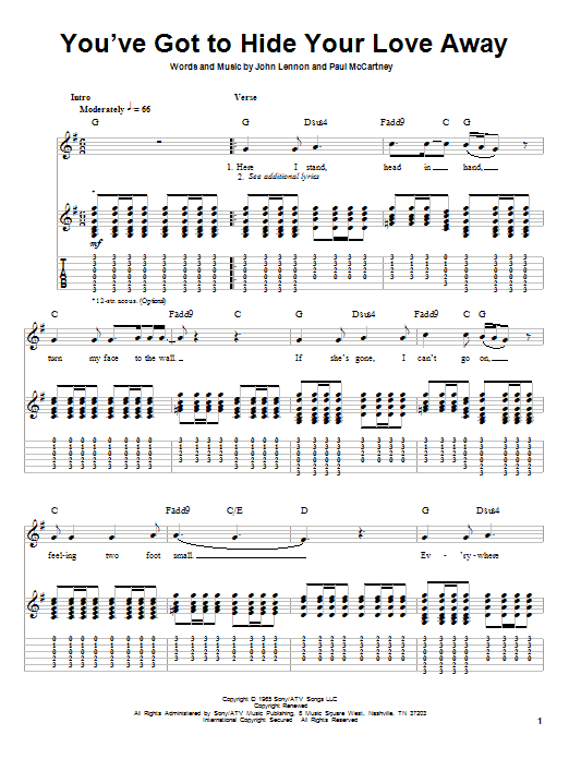 You've Got To Hide Your Love Away (Guitar Tab (Single Guitar))