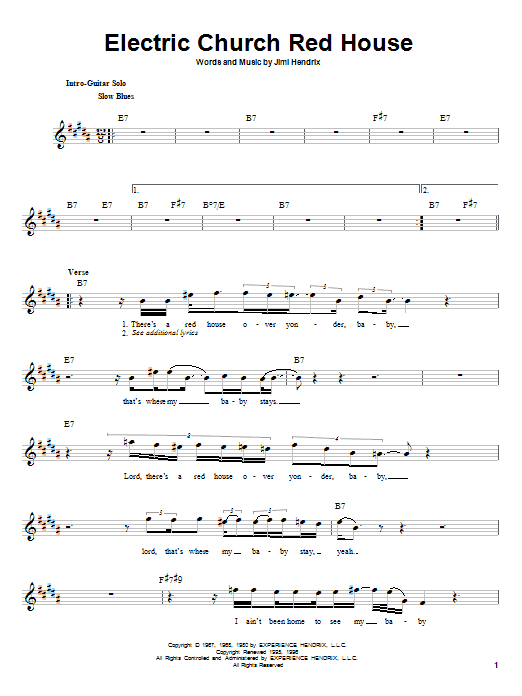 Electric Church Red House (Lead Sheet / Fake Book)