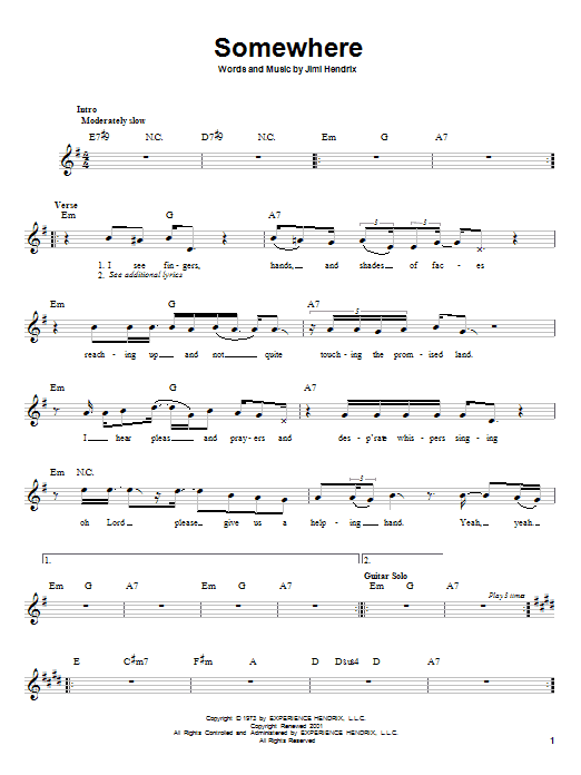 Somewhere (Lead Sheet / Fake Book)