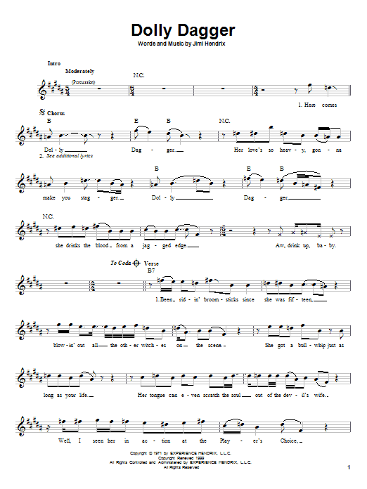 Dolly Dagger (Easy Guitar)
