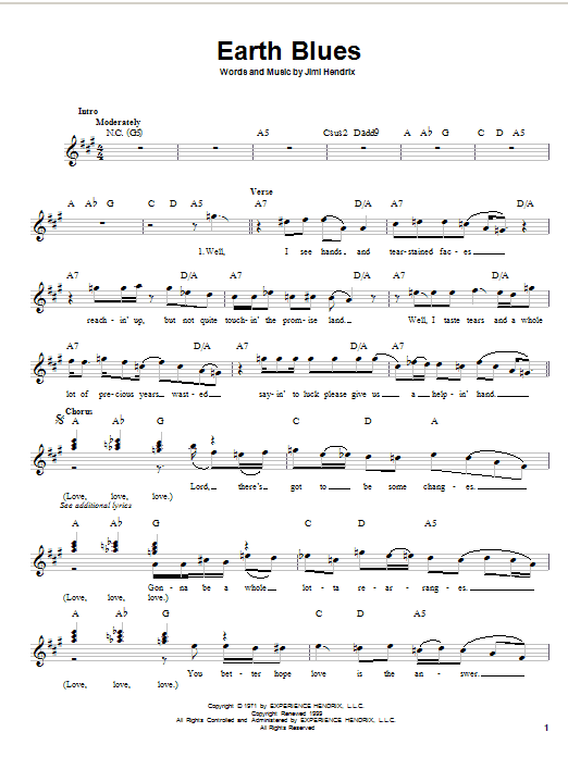 Earth Blues (Lead Sheet / Fake Book)