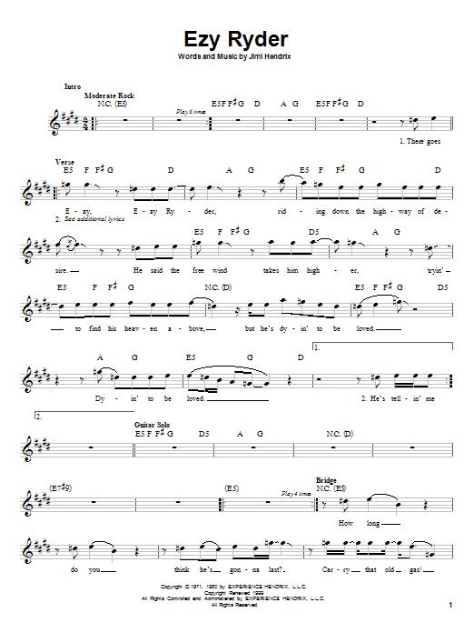 EZY Ryder Sheet Music