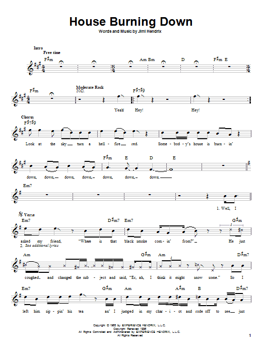 House Burning Down Sheet Music